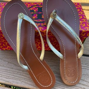 Tory Burch Terra gold sandals